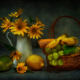 still life, food, yellow flowers, fruits, banana, lemon wallpaper