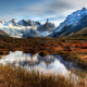 nature, beautiful, mountains, slopes, grass, water, patagonia wallpaper