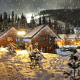 winter, mountains, village, snow, forest, cottage wallpaper
