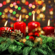 new year, bokeh, christmas, cones, spruce, holidays, candles, christmas tree, new year wallpaper