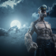 Popeye, digital art, moon, clouds, pipes, sailors, sailor, hats, tattoo, 3D wallpaper