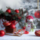 holidays, new year, christmas, table, branches, spruce, toys, decorations, snowman wallpaper