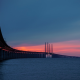 nature, landscape, sea, water, horizon, Sweden, bridge, road, pillars, architecture, sunset, clouds wallpaper