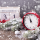 holidays, new year, decoration, snow, needles, clock, alarm clock, calendar wallpaper