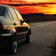 BMW E46, photoshopped, sunset, road, driving, car, BMW wallpaper