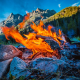 bonfire, flame, mountains, sky, nature, fire, campfire, beaver park, wind rivers, wyoming, usa wallpaper