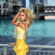 ekaterina fetisova, model, women, yellow dress, blonde, long hair,  wallpaper