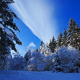 nature, winter, snow, trees, fir trees, sky, forest wallpaper