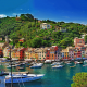 city, cityscape, landscape, sea, boat, building, forest, bay, Portofino, Italy, colorful wallpaper