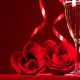 holidays, flowers, red rose, glasses, champagne, petals wallpaper