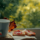 window, cup, food, emotions, rain wallpaper