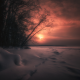 sunset, twilight, winter, snow, clouds wallpaper