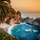 big sur, california, pacific ocean, mcway falls, julia pfeiffer burns state park, coast, rocks, waterfall, nature wallpaper