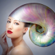 girl, shell, headpiece, portrait, photomanipulation, red lips, women wallpaper