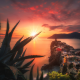 rocks, houses, light, sun, sea, cliff, city, sunset, vernazza, cinque terre, italy wallpaper