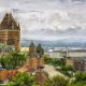 canada, city, town, clouds, castle, chateau frontenac, quebec city, quebec wallpaper