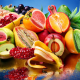 fruit, colorful, food, kiwi, pineapple, grapes, mango, apple, banana, pomegranate wallpaper