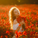 women, flowers, red flowers, outdoors, closed eyes, girl, poppies, poppy, nature wallpaper