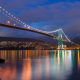 lions gate bridge, vancouver, canada, ocean, bay, bridge, mountains, city, night,  wallpaper
