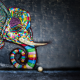 ball, artwork, colorful, elephant wallpaper