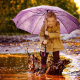 child, girl, joy, nature, autumn, puddle, mud, umbrella, spray wallpaper