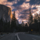 yosemite national park, road, trees, vliff, nature, clouds, usa, yosemite wallpaper
