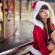 Asian, teddy bears, Santa, costume, brunette, dark eyes, looking at viewer, open mouth, women outdoo wallpaper
