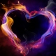 heart, dark background, love, 3d graphics wallpaper