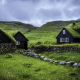 faroe islands, small houses, green grass, clouds, overcast, grass wallpaper