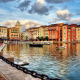 Portofino, Italy, building, city, boat, chains, sea, clouds, water, reflection wallpaper
