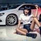 volkswagen, white car, cars, smile, women, girl, asian, skinny, legs, volkswagen scirocco wallpaper