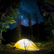 nature, landscape, camping, forest, starry night, Milky Way, trees, long exposure, lights, shrubs wallpaper