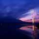 mountain, fuji, fireworks, japan, nature wallpaper