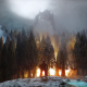 video games, The Elder Scrolls V: Skyrim, Elder Scrolls, dragon, fire, forest, trees wallpaper