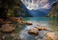 nature, landscape, Alps, summer, lake, mountain, trees, clouds, water wallpaper
