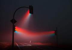 lights, traffic lights, mist wallpaper
