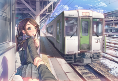 artwork, anime girls, anime, train, train station, scarf, original characters wallpaper