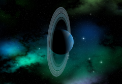 Uranus, planet, Solar System, planetary rings, space art, artwork wallpaper