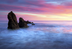 nature, landscape, rock, water, sea, clouds, horizon, sunset, long exposure wallpaper