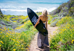 women, outdoors, model, surfing, surf, surfboard, flowers, ocean wallpaper