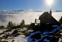 Austria, cabin, snowy peak, clouds, mountains, nature wallpaper