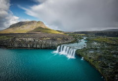 Thjofafoss, Iceland, waterfall, river, landscape, nature, mountains, fall, turquoise, water wallpaper