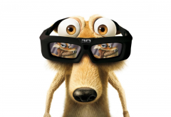 Scrat, cartoons, movies, Ice Age: Dawn of the Dinosaurs, Ice Age, 3d glasses wallpaper