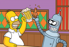 Futurama, cartoons, Bender, The Simpsons, Homer Simpson, beer, movies wallpaper