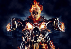 Ghost Rider, skull, fire, motorcycle, comics, movies wallpaper