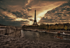 Paris, France, Eiffel Tower, city, river, clouds, overcast, hdr wallpaper