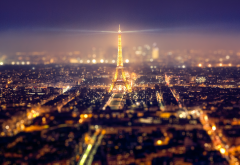Eiffel Tower, Paris, night, tilt shift, France, city wallpaper