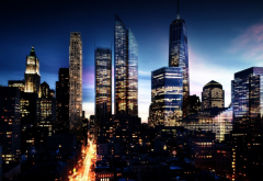 city, skyscrapers, night, new york, usa wallpaper