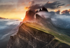 mountains, sunset, clouds, fog, nature, landscape wallpaper