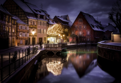 Christmas, France, landscape, city, canal, house, winter, snow wallpaper